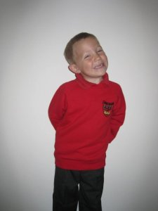 First day at first school - cheeky chap!