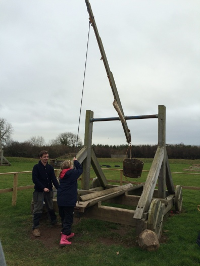 Loading the trebuchet (not quite as big as Warwick Castle)
