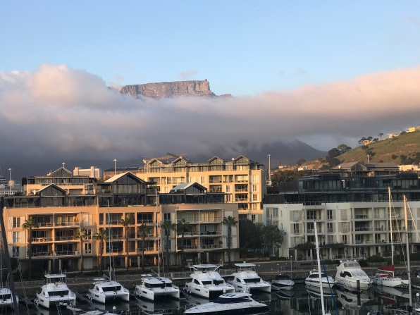 Table Mountain peaking out of the clouds